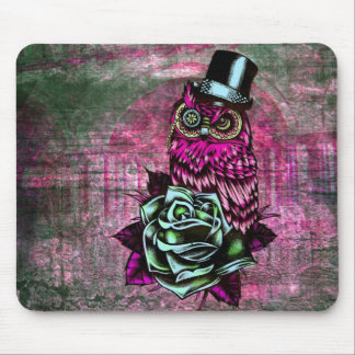 Tattoo style owl with top hat in pink and green mouse pad