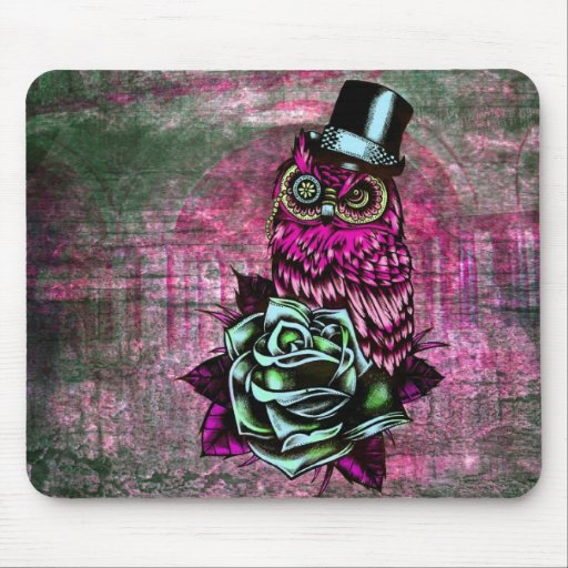 Tattoo style owl with top hat in pink and green mouse pads