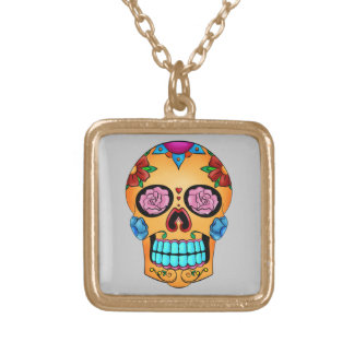 Tattoo Sugar Skull Gold Plated Necklace