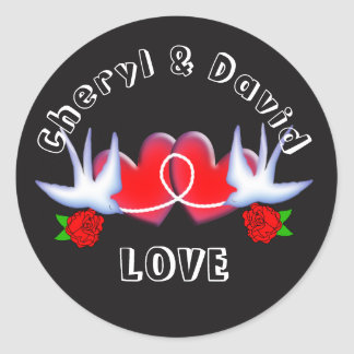 Tattoo Swallow Love Hearts And Roses Red Black Round Sticker