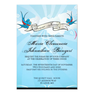 "Tattoo Swallows and Scroll Bridal Shower Invite 5"" X 7"" Invitation Card"