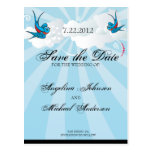 Tattoo Swallows and Scroll Urban Save the date Car Postcard