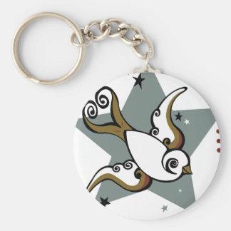 Tattoo Urban Swallow Bird Design Basic Round Button Key Ring