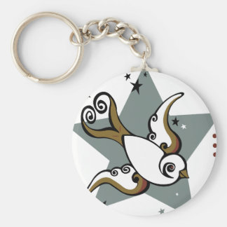 Tattoo Urban Swallow Bird Design Key Ring