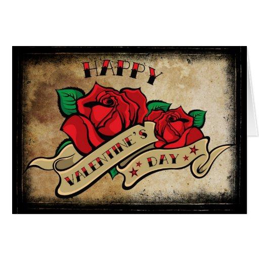 Tattoo valentine 39 s day love rose greeting cards zazzle for Valentine s day tattoos