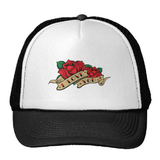 Tattoo Valentine's Day Love Rose Trucker Hats