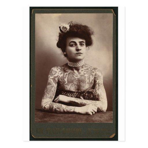 Tattooed American Woman Postcard