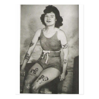 Tattooed Bathing Beauty Post Card