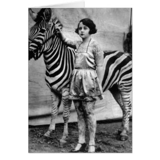 Tattooed Circus Lady and Zebra Greeting Card