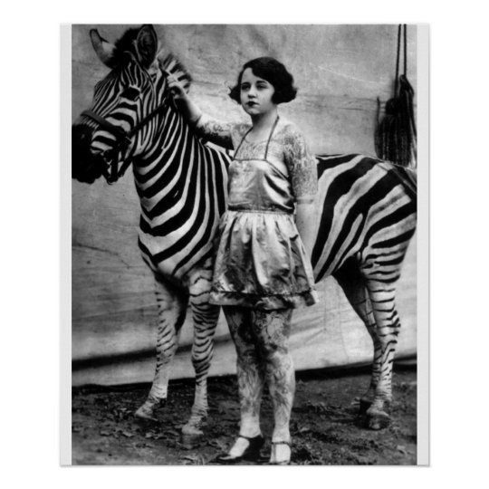 Tattooed Circus Lady and Zebra Poster