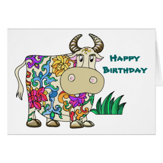 Tattooed Cow Birthday Greeting Card