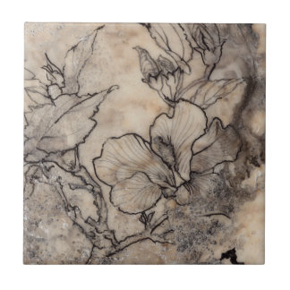 Tattooed Floral I Small Square Tile