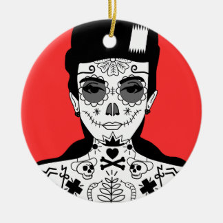 Tattooed Girl Portrait Illustration Christmas Ornament