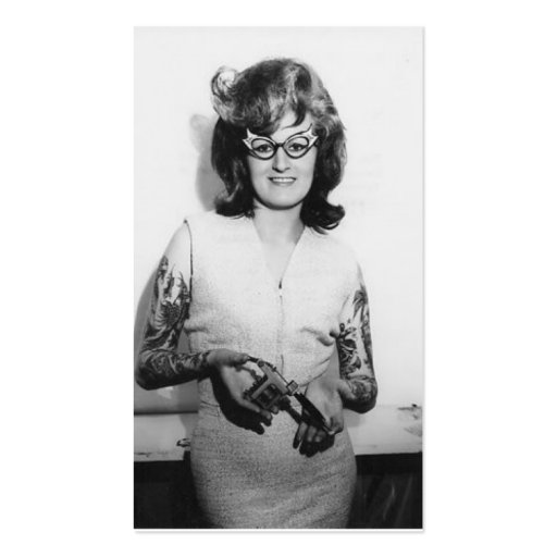 Tattooed Glasses Chick Business Cards