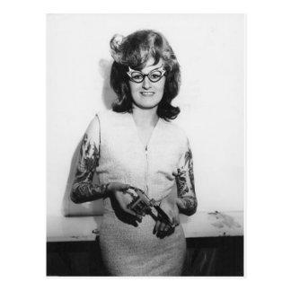 Tattooed Glasses Chick Postcard
