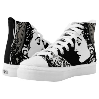 Tattooed gypsy lace tennis shoes printed shoes