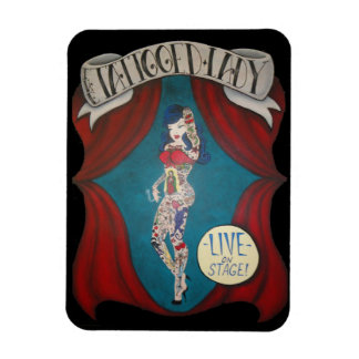 Tattooed Lady Circus Banner Painting Magnet