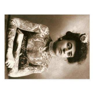Tattooed Lady w/ Pearls Postcard Vintage Circus