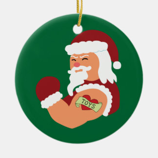 Tattooed Santa Christmas Ornament