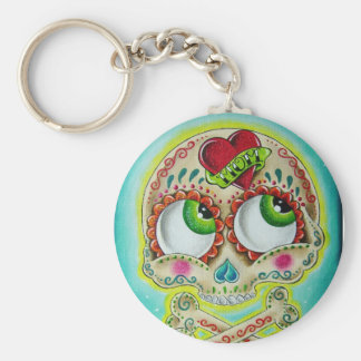 Tattooed skull key ring