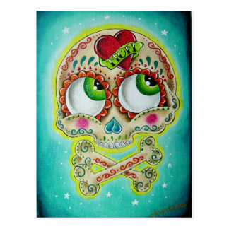 Tattooed skull postcard