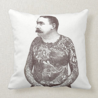 Tattooed Victorian Guy with Moustache Cushion