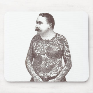 Tattooed Victorian Guy with Moustache Mousepads