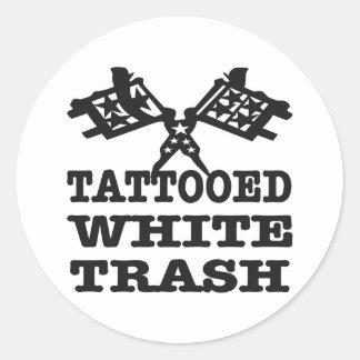 Tattooed White Trash Round Sticker