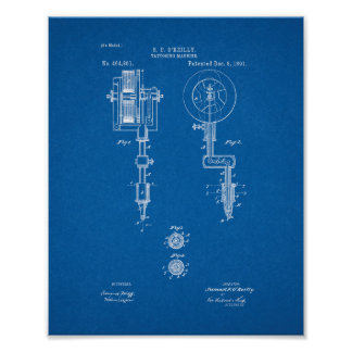 Tattooing Machine Patent - Blueprint Poster