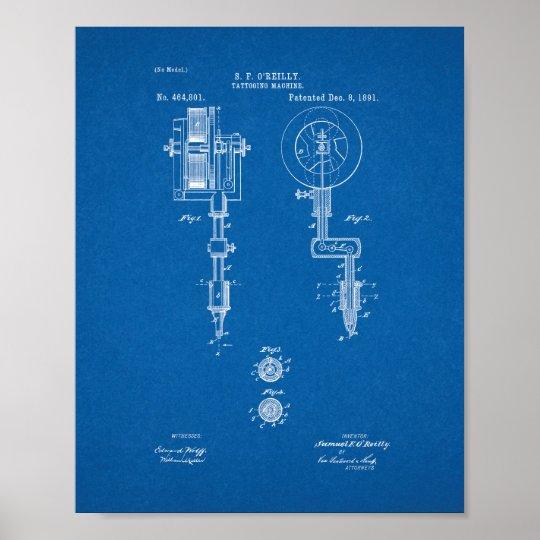 Tattooing Machine Patent - Blueprint Poster