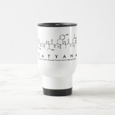 Mug featuring the name Tatyana spelled out in the single letter amino acid code