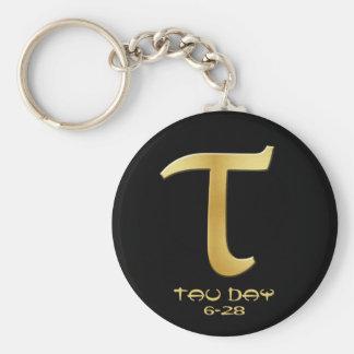 Tau Day - Gold Greek Symbol Key Ring