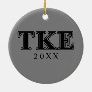 Tau Kappa Epsilon Black Letters Christmas Ornament
