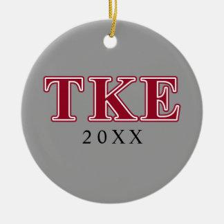 Tau Kappa Epsilon Red Letters Christmas Ornament