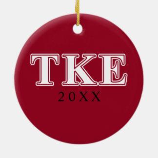 Tau Kappa Epsilon White and Red Letters Christmas Ornament