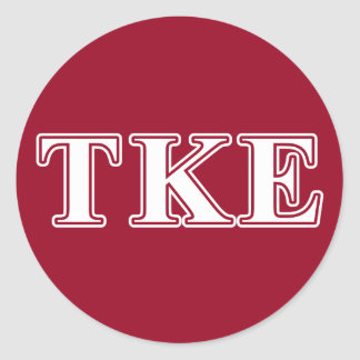 Tau Kappa Epsilon White and Red Letters Classic Round Sticker
