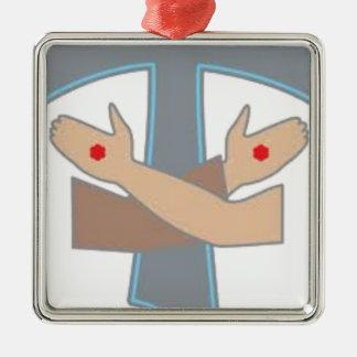 Tau Stigmata Chain, Decoration, Ornament, Stickers Silver-Colored Square Decoration