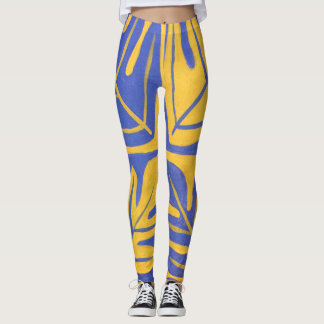 Tauati Fern of Blue and Gold Leggings