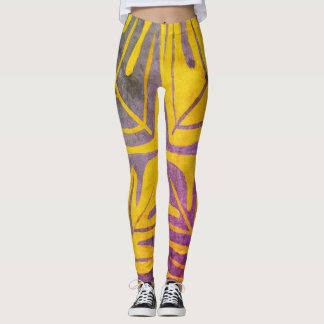 Tauati Fern of Gold, Gray and Orchid Leggings