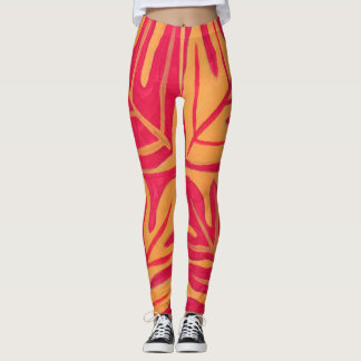 Tauati Fern of Red and Gold Leggings
