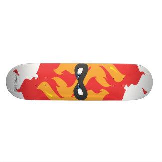 Taucoo mask logo on fire cartoon skateboard