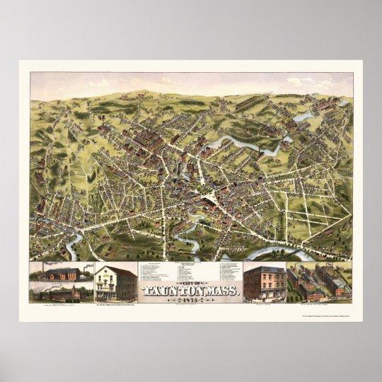 Taunton, MA Panoramic Map - 1875 Poster