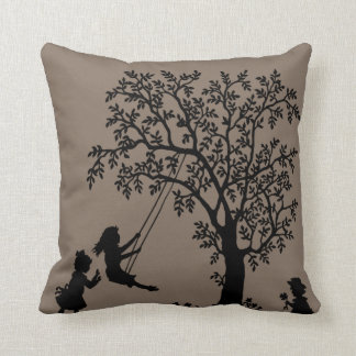 Taupe Abstract Tree kids playing pillow