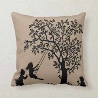 Taupe Abstract Tree kids playing pillow Throw Cushions