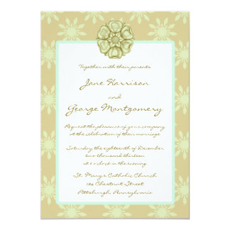 Taupe and Celadon Wedding Invitation