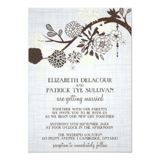 Taupe and Cream Flowers Rustic Wedding Invitation