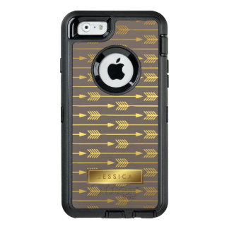 Taupe and Printed Gold Arrows Pattern OtterBox Defender iPhone Case