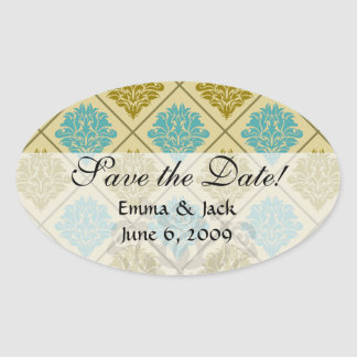 taupe and teal diamond damask oval sticker