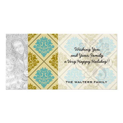 taupe and teal diamond damask picture card