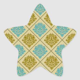 taupe and teal diamond damask star sticker